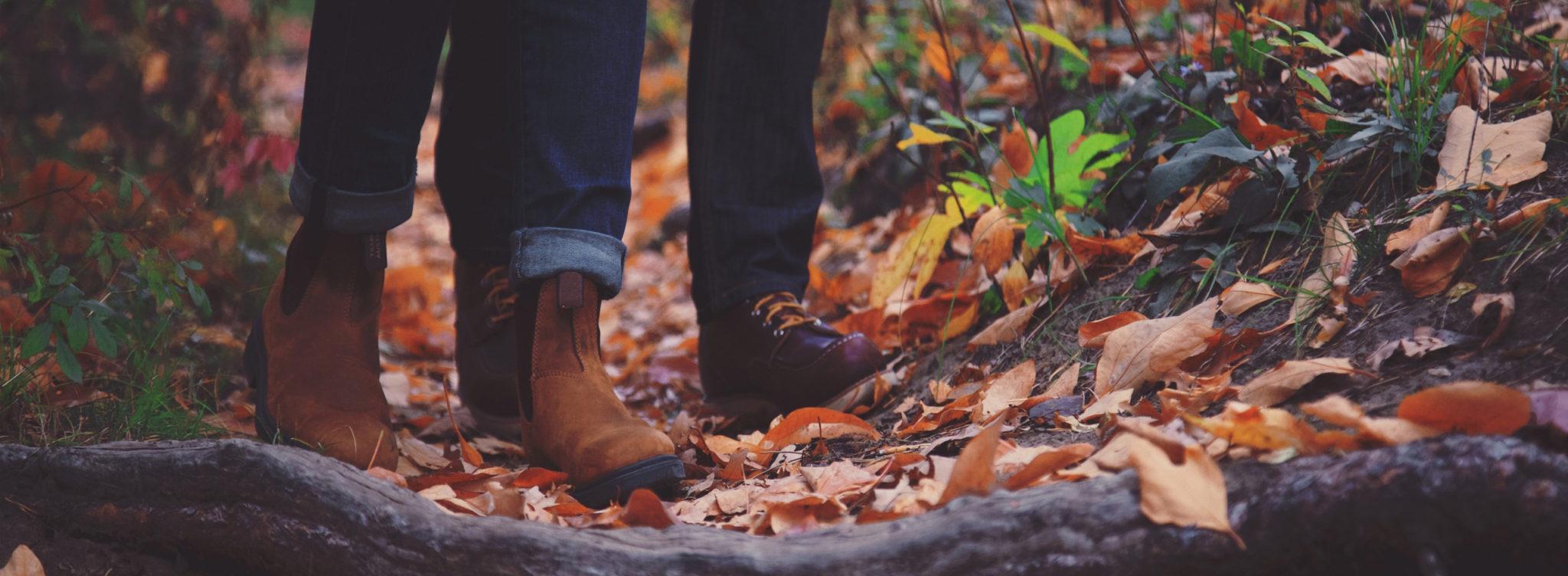 Miljöbild av höstlöv. Två par fötter i bakgrunden.